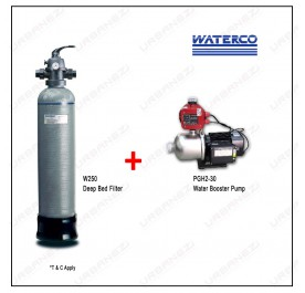Waterco W250 Micron Deep Bed Water Filter + Puregen PGH230 Booster Pump