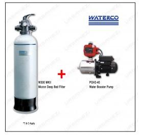 Waterco W300-MKII Micron Deep Bed Water Filter + Puregen PGH240 Booster Pump