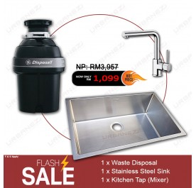 [Flash Sale] GE GFC1001F Waste Disposer + Lebensstil LKKB-2401SS Stainless Steel Sink + LKKT-2402RL Kitchen Mixer Tap