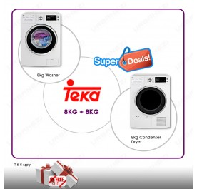 Teka 8kg Washing Machine TKD 1480 + Teka 8kg Condenser Cloth Dryer TKS 850C