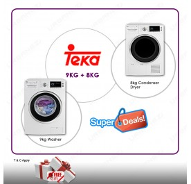Teka 9kg Washing Machine TKD 1490 + Teka 8kg Condenser Cloth Dryer TKS 850C