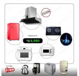 Lebensstil LKCH-9109GBF Hood + LKGH-8602MB Gas Hob + LKBO-1009WD Oven + LKMW-2503WD Microwave + LKSF-9705MT Refrigerator