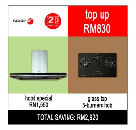[Combo] Fagor CPT-90XTB Chimney Hood + FGH93000ST Gas Hob