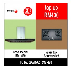[Combo] Fagor CPT-90XTB Chimney Hood + FGH720ST Gas Hob