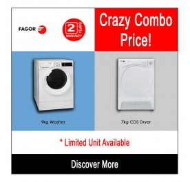 [Combo] Fagor 9kg Washing Machine FE-9214 + Fagor 7kg Condenser Cloth Dryer SFE-700CBA