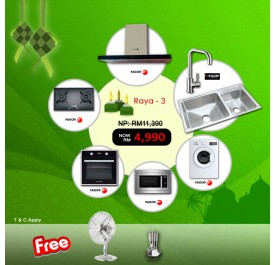 [Raya 3] Fagor CPT-90XTB Chimney Hood + FGH-720ST Gas Hob + 7H-177AX Built-In Oven +  FE-7010A Washing Machine