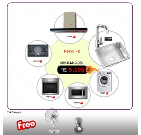 [RENO - 8] Fagor CPT-90XTB Chimney Hood + A12FG772X Gas Hob + 6H-114AX Built-In Oven + MWB-17AEX Microwave + FE-7210A Washing Machine