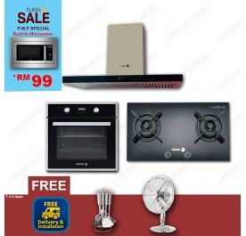 [Flash Sale] Fagor CPT-90XTB Chimney Hood + FGH-720ST Gas Hob + 7H-177AX Built-In Oven