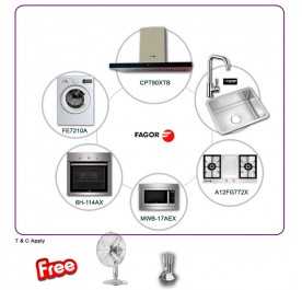 Fagor CPT-90XTB 90cm Chimney Hood + A12FG772X 2-Burner Gas Hob + 6H-114AX Built-In Oven + MWB-17AEX Microwave + FE-7210A Washing Machine