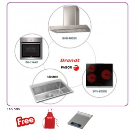Brandt BHB6902X 90cm Chimney Hood + BPV6320B 3-Cooking Zone Vitroceramic + Fagor 6H-114AX Built-In Oven