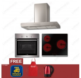 [Flash Sale] Brandt BHB6902X Chimney Hood + BPV6320B Vitroceramic + Fagor 6H-114AX Built-In Oven