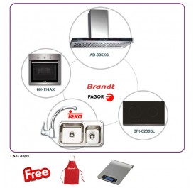 Brandt AD995XC 90cm Chimney Hood + BPI6230BL 2-Cooking Zone Induction Hob + Fagor 6H-114AX Built-In Oven