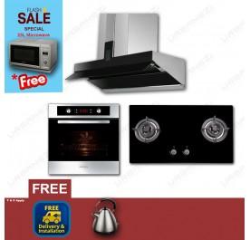 [Flash Sale] Lebensstil LKCH9109GBF Chimney Hood + LKGH8502MB Gas Hob + LKBO1012CT Built-In Oven + LKMW2301SS Microwave