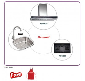Brandt AD995XC 90cm Chimney Hood + TG-1493B 3-Burner Gas Hob