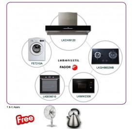 Lebensstil LKCHi9120 90cm Chimney Hood + LKGH8602MB 2-Burner Gas Hob + LKBO8010 Built-In Oven + LKMW2308 Microwave + Fagor FE7210A