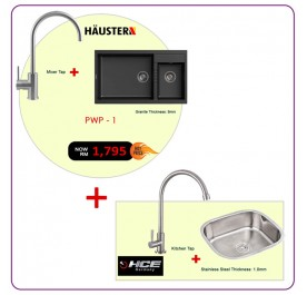 [PWP - 1] Haustern HT-PRISMA-623B 2-Bowl Granite Sink + HT-XE-415-UCR Kitchen Tap
