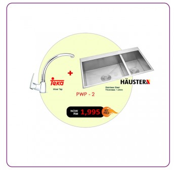 [PWP - 2] Haustern HT-KPX-620 2-Bowl Stainless Steel Sink + Teka MB2 Kitchen Mixer Tap