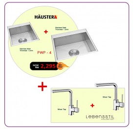 [PWP - 4] Haustern HT-KPX-610 + HT-KPX-612 Single Bowl Stainless Steel Sink + Lebensstil LKKT-2404RL Mixer Tap