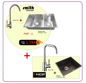 [PWP - 5] Smith STM-885123 2-Bowl Stainless Steel Sink + SFT-005 Mixer Tap
