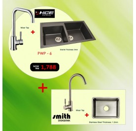 [PWP - 6] HCE GKS-8650-MBR 2-Bowl Granite Sink + SFK-804A Mixer Tap