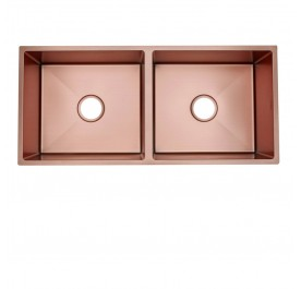 HUN HKS 512-NANO ROSE GOLD Undermount Double Bowl Nanotech Kitchen Sink