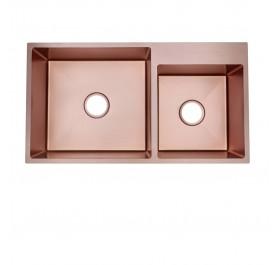 HUN HKS 511-NANO ROSE GOLD Undermount Double Bowl Nanotech Kitchen Sink