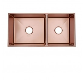 HUN HKS 510-NANO ROSE GOLD Undermount Double Bowl Nanotech Kitchen Sink