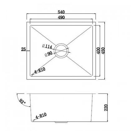 HUN HKS 508-NANO ROSE GOLD Undermount Medium Size Single Bowl Nanotech Kitchen Sink