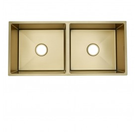 HUN HKS 412-NANO GOLD Undermount Double Bowl Nanotech Kitchen Sink