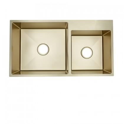 HUN HKS 411-NANO GOLD Undermount Double Bowl Nanotech Kitchen Sink
