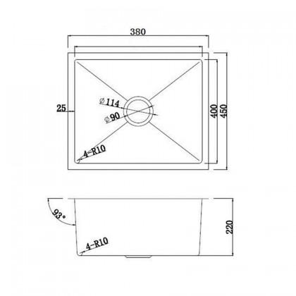 HUN HKS 407-NANO GOLD Undermount Small Size Single Bowl Nanotech Kitchen Sink