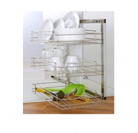 3 Tier Side Mounted Pull-Out Basket (Stainless Steel)