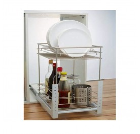 2 Layer Door Mounted Pull-Out Basket (Stainless Steel)