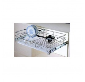 Bowl & Plate Pull-Out Basket With Plastic Tray (Stainless Steel)