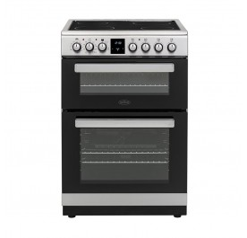 Belling FSE608MFc 60cm Freestanding Double Oven Multifunction Electric Range Cooker With Ceramic Hob - Stainless Steel 444444803