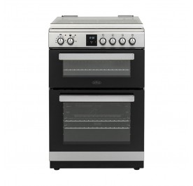 Belling FSDF608Dc 60cm Freestanding Double Oven Multifunction Cooker With Gas Hob - Stainless Steel 444444804