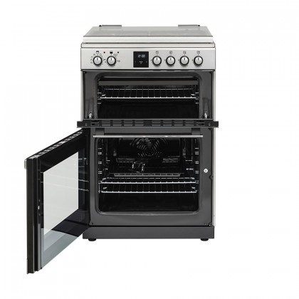 Belling FSDF608Dc 60cm Freestanding Double Oven Multifunction Range Cooker With Gas Hob - Stainless Steel 444444804