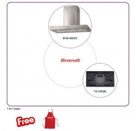 Brandt BHB6902X 90cm Chimney Hood + TG1483BL 3-Burner Gas Hob