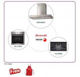 Brandt BHB6902X 90cm Chimney Hood + TG1483BL 3-Burner Gas Hob + Fagor 6H-114AX Built-In Oven