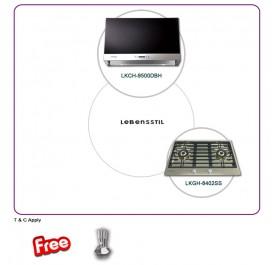 Lebensstil LKCH-9500DBH 90cm Chimney Hood + LKGH-8402SS 2-Burner Stainless Steel Gas Hob