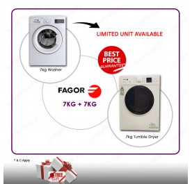 Fagor FE-7210A 7kg Front Loading Washing Machine + Fagor SFM-70ST 7kg Vented Cloth Dryer Combo Set