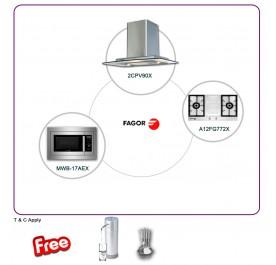 Fagor 2CPV-90X 90cm Chimney Hood + A12FG772X 2-Burner Gas Hob + MWB-17AEX Microwave