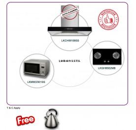 Lebensstil LKCH9108SS 90cm Chimney Hood + LKGH8502MB 2-Burner Gas Hob + LKMW2301SS Microwave