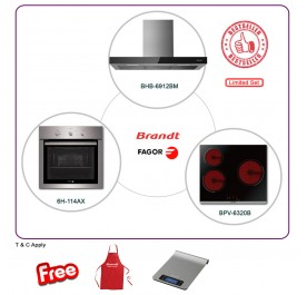 Brandt BHB6912BM 90cm Chimney Hood + BPV6320B 3-Cooking Zone Vitroceramic + Fagor 6H-114AX Built-In Oven