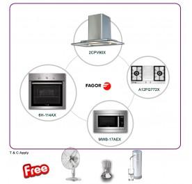 Fagor 2CPV-90X 90cm Chimney Hood + A12FG772X 2-Burner Gas Hob + 6H-114AX Built-In Oven + MWB-17AEX Microwave