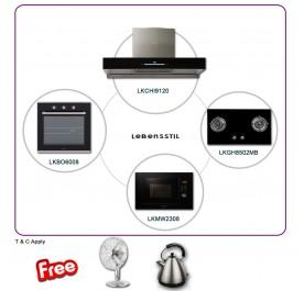Lebensstil LKCHi9120 90cm Chimney Hood + LKGH8502MB 2-Burner Gas Hob + LKBO6008 Built-In Oven + LKMW2308 Microwave