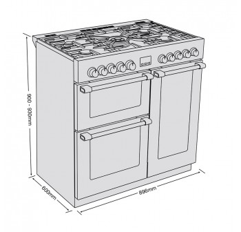 Belling 444410742 CookCentre Deluxe 90cm Dual Fuel Range Cooker With Huge 195 Litres Oven Combined Capacity - Stainless Steel