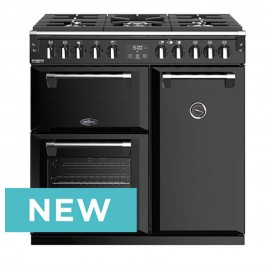 Belling 444410740 Richmond Deluxe 90cm Dual Fuel Range Cooker With Huge 195 Litres Oven Combined Capacity - Black