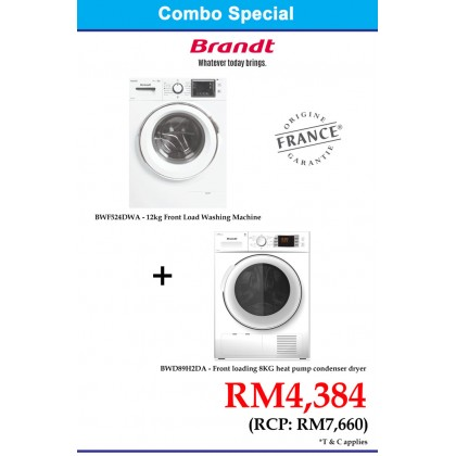 Brandt 12kg Washing Machine BWF524DWA + Brandt 8kg Condenser Cloth Dryer BWD89H2DA