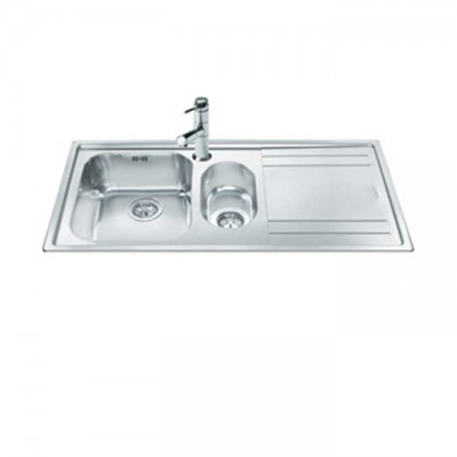 Smeg LE102D Top Mount 1 1/2-Bowl Stainless Steel Sink with (Right Drainer)